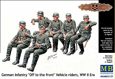 Master-Box WWII German Infantry Sitting (6) Plastic Model Military Figure 1/35 Scale #35137