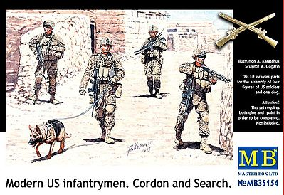 Master Box  Limited Modern US Infantry Search (4) w/Special Dog -- Plastic Model Military Figure -- 1/35 -- #35154
