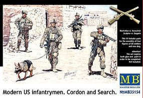 Master-Box Modern US Infantry Search (4) w/Special Dog Plastic Model Military Figure 1/35 #35154