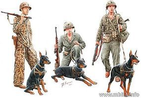 Master-Box Dogs in Marine Corps Service (3 w/3 Figures) Plastic Model Military Figure 1/35 #35155