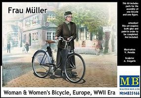 Master-Box WWII Frau Muller Woman & Womens Bicycle Plastic Model Military Figure Kit 1/35 #35166