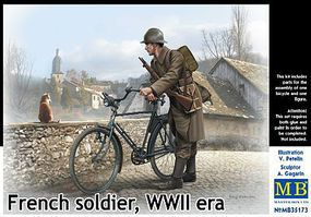 Master-Box French Soldier with Bicycle WWII Era Plastic Model Military Figure Kit 1/35 Scale #35173