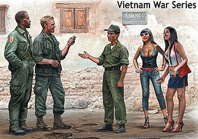 Master-Box 1/35 Somewhere in Saigon US Soldiers (3) & Prostitutes (2) Vietnam War (New Tool)