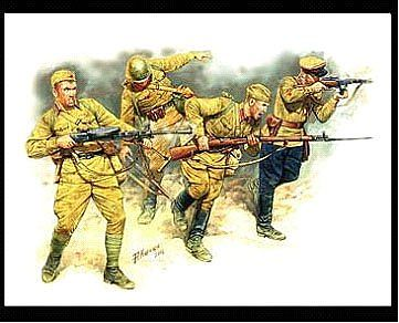 Master-Box Soviet Infantry in Action Eastern Front 1941-42 Plastic Model Military Figure 1/35 #3523