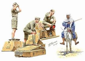 Master-Box German Tankmen & Donkey with Rider Afrika Korps Plastic Model Military Figure 1/35 #3559