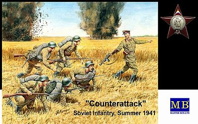 Master-Box Counterattack Soviet Infantry Summer 1941 (6) Plastic Model Military Figure 1/35 #3563