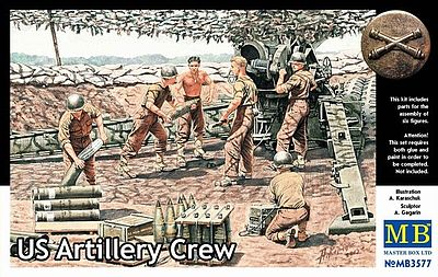 Master Box  Limited WWII US Artillery Crew (6) -- Plastic Model Military Figure -- 1/35 Scale -- #3577