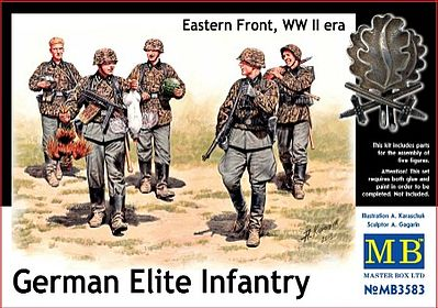 Master-Box WWII German Elite Infantry Eastern Front (5) Plastic Model Military Figure 1/35 Scale #3583