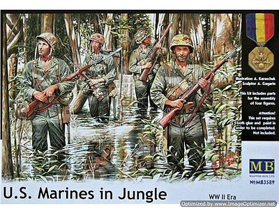 Master Box  Limited WWII USMC in Jungle (4) -- Plastic Model Military Figure -- 1/35 Scale -- #3589