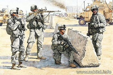 Master Box  Limited US Soldiers Check Point Iraq (4) -- Plastic Model Military Figure -- 1/35 Scale -- #3591
