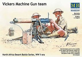 Master-Box WWII Vickers Machine Gun Team (4) w/Gun Plastic Model Military Figure 1/35 Scale #3597