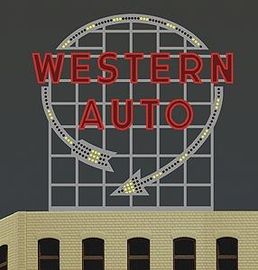Micro Structures Western Auto Animated Neon Billboard -- Model Railroad Billboard Sign -- #2481