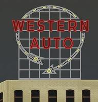Micro-Structures Western Auto Animated Neon Billboard Model Railroad Billboard Sign #2481