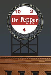 Micro Structures Dr. Pepper Animated Neon Billboard Kit -- Model Railroad Billboard -- #2681