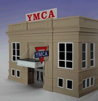 Micro-Structures YMCA Small Combo Kit Animated Neon Sign HO Scale Model Railroad Billboard #30972