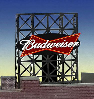 Micro Structures Budweiser Animated Rooftop Small Billboard Lattice Support -- N Scale Model Railroad Sign -- #338815