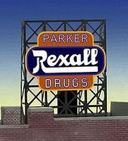 Micro-Structures Parker/Rexall Drugs Animated Billboard Lattice Support N Scale Model Railroad Sign #338820