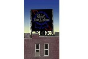 Micro-Structures Pabst Beer Animated Rooftop Billboard Lattice Support N Scale Model Railroad Sign #338825