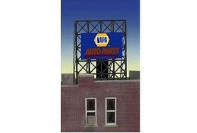 Micro-Structures Napa Auto Parts Animated Rooftop Billboard Lattice Support N Scale Model Railroad Sign #338895