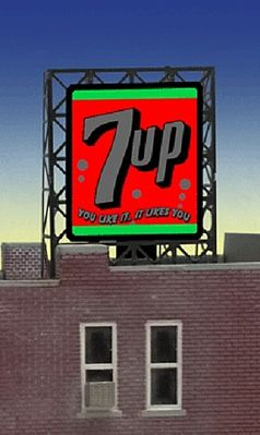 Micro Structures 7UP Animated Rooftop Billboard Lattice Support -- Z Scale Model Railroad Billboard Sign -- #338945