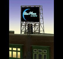 Micro-Structures Blue Moon Cafe Flashing Neon Rooftop Billboard N Scale Model Railroad Billboard Sign #338960