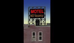Micro-Structures Motel Flashing Neon Rooftop Billboard N Scale Model Railroad Billboard Sign #338975