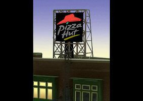 Micro-Structures Pizza Hut Flashing Neon Rooftop Billboard N Scale Model Railroad Billboard Sign #338985