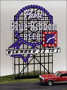 Micro Structures Pabst Blue Ribbon Animated Neon Large Billboard -- HO Scale Model Railroad Sign -- #4081