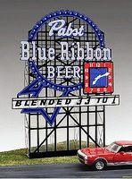 Micro-Structures Pabst Blue Ribbon Animated Neon Small Billboard HO Scale Model Railroad Sign #4082