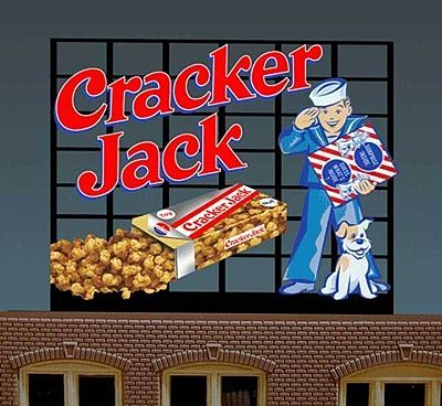 Micro Structures Cracker Jack Animated Small Neon Billboard -- HO Scale Model Railroad Sign -- #440102