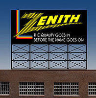 Micro-Structures Zenith Animated Neon Rooftop Billboard HO Scale Model Railroad Sign #440452