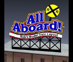 Micro-Structures All Aboard Customizable Animated Rooftop Billboard N Scale Model Railroad Billboard #441852
