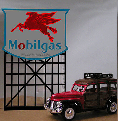 Micro Structures Mobilgas Gas Station Animated Neon Billboard Sign -- N Scale Model Railroad Billboard -- #4682