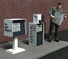 Micro-Structures Newspaper Stands Unpainted, Photo-Etch Metal Kits (2) O Scale Model Railroad Accessory #481410