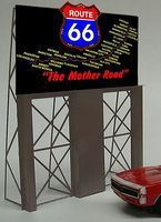 Micro-Structures Route 66 Animated Neon Large Billboard w/Support Kit HO Scale Model Railroad Billboard #5061