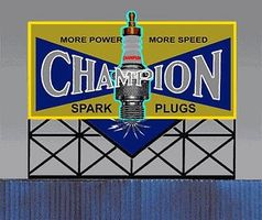 Micro-Structures Champion Spark Plugs Animated Neon Large Billboard HO Scale Model Railroad Billboard #5071