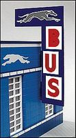 Micro-Structures Vertical Bus Station Animated Neon Billboard HO/O Scale Model Railroad Sign #5881