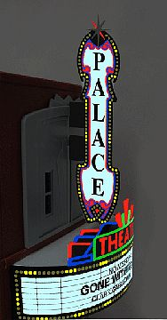 Micro Structures Small Theater Animated Sign Combo Kit w/Vertical & Horizontal Signs -- HO Scale Model Sign -- #59982