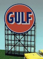 Micro-Structures Gulf Gasoline Animated Neon Billboard Kit HO Scale Model Railroad Sign #6081