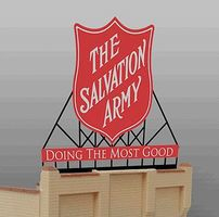 Micro-Structures Salvation Army Animated Neon Large Billboard Kit HO Scale Model Railroad Sign #6281