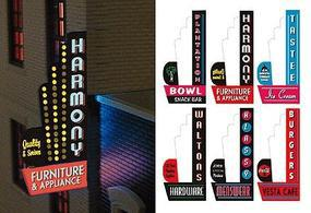 Micro-Structures Downtown Series #2 Animated Vertical Neon Left Mount Sign Model Railroad Lighting Kit #67811