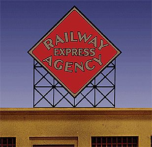 Micro-Structures Railway Express Agency Large Diamond Logo Animated Billboard HO Scale Model Railroad Sign #71