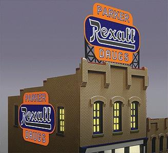 Micro Structures Rexall Animated Neon Large Billboard Kit -- HO Scale Model Railroad Billboard -- #7581