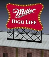 Micro-Structures Miller Beer Animated Neon Large Billboard Kit HO Scale Model Railroad Billboard #8061