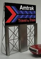 Micro-Structures Amtrak Travel Train Animated Neon Billboard Model Railroad Billboard Kit #8281