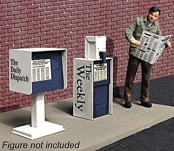 Micro Structures Newspaper Stands City Details Kit (2) -- HO Scale Model Railroad Accessory -- #871410
