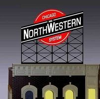 Micro-Structures Chicago & North Western Animated Neon Billboard HO Scale Model Railroad Sign #880201