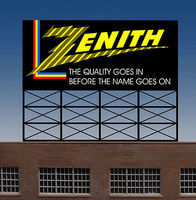 Micro-Structures Zenith Animated Neon Rooftop Billboard HO Scale Model Railroad Sign #880451
