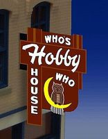 Micro-Structures Whos Hobby House Vertical Wall-Mount Animated Billboard HO Scale Model Railroad Sign #881451