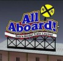 Micro-Structures ALL ABOARD Animated Billboard HO Scale Model Railroad Sign #881851